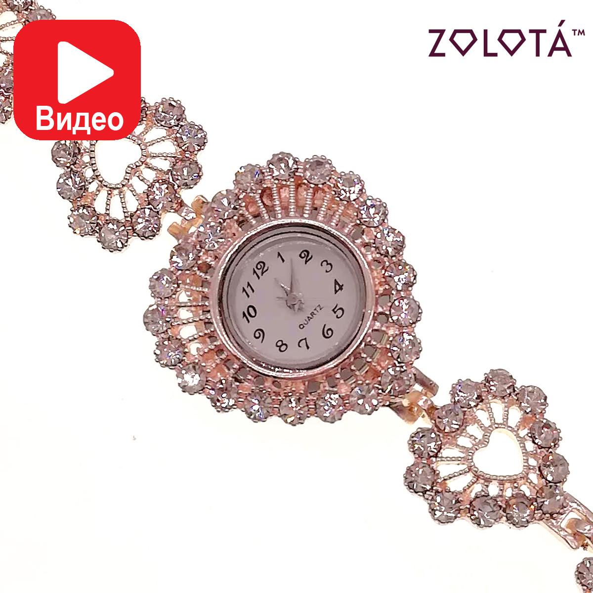 Кварцевые часы с белыми фианитами (куб. цирконием), в позолоте, ЧС00004 (1)
