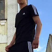 Футболка в стиле Adidas Three line черная  S