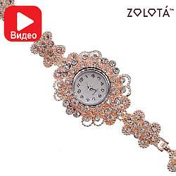 Кварцевые часы с белыми фианитами (куб. цирконием), в позолоте, ЧС00005 (1)
