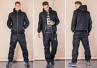Зимний мужской теплый стеганый синтепоновый костюм с курткой на овчине и вшитым капюшоном.  Арт-1201/29