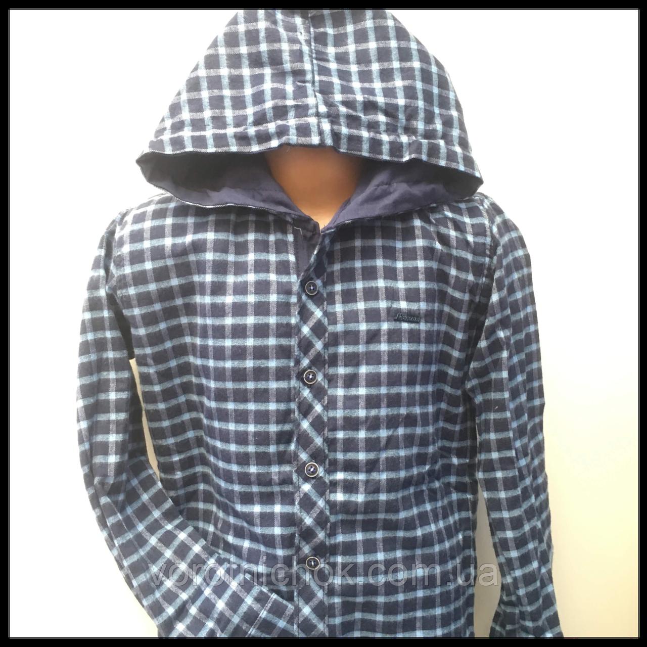 Рубашка для мальчика, теплая с капюшоном 5-9 лет