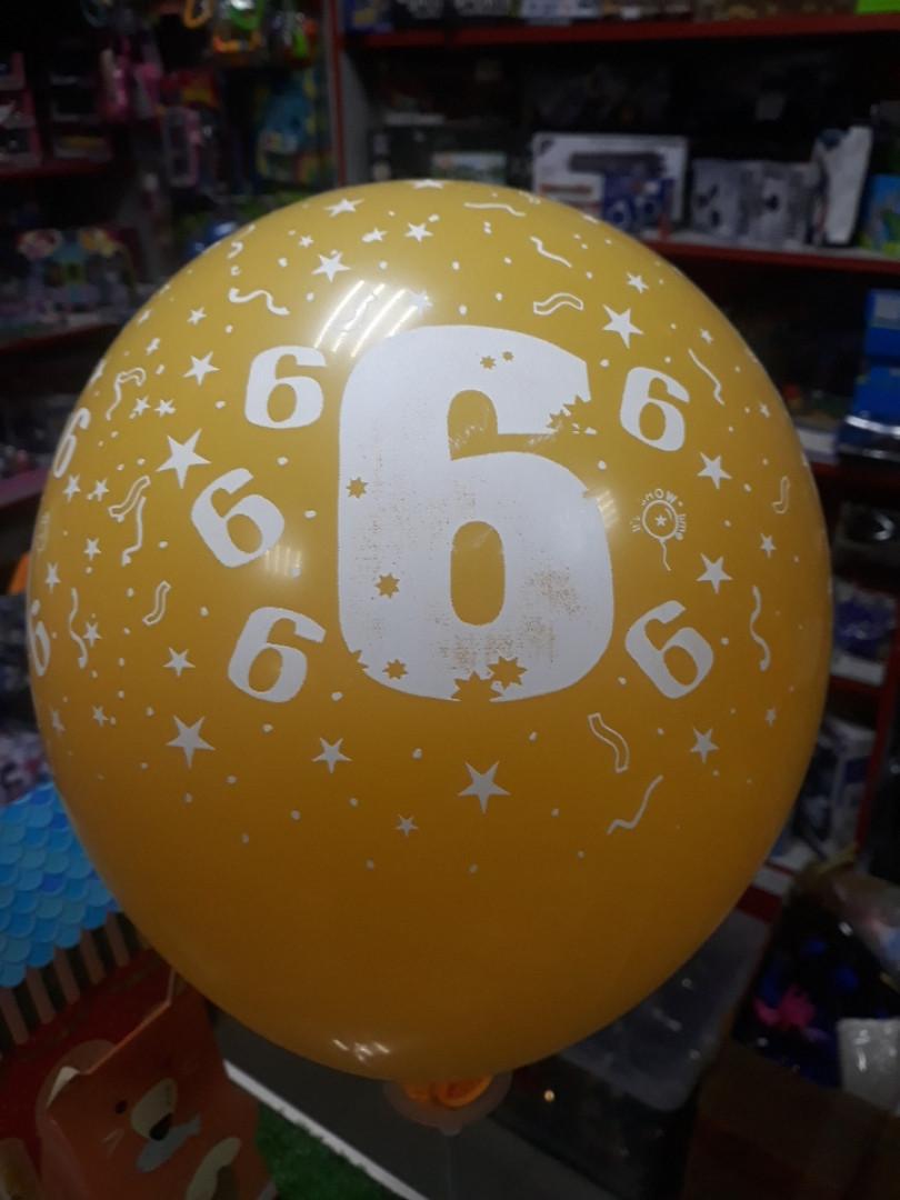 Воздушный шар с рисунком и цифрой 6 1шт