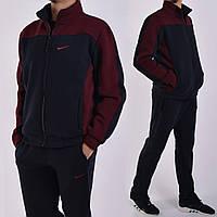 Размеры:48.Зимний мужской спортивный костюм Nike (Найк) / Трикотаж трехнитка на байке / темно-синий