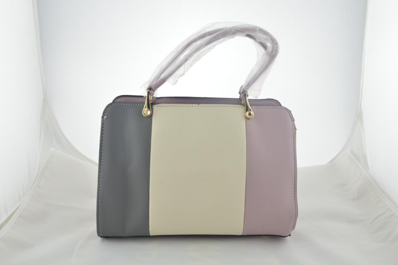 Стильная женская розовая сумка эко кожа держит форму