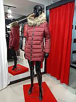 Коротка зимова тепла жіноча куртка на силіконі, з капюшоном, знімне еко-хутро, від виробника, розміри 42-48