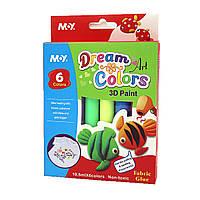 """Клей декор. """"Dream colours 3D текстиль"""", 10,5мл*6 цв"""