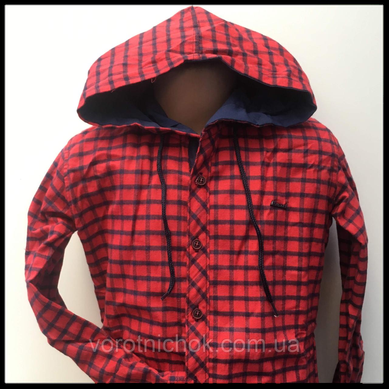 Детская рубашка для мальчика, теплая с капюшоном 5-9 лет