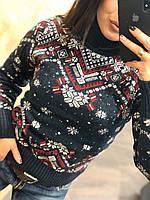 Модный шерстяной женский свитер с рисунком (вязка)на новый год, фото 1