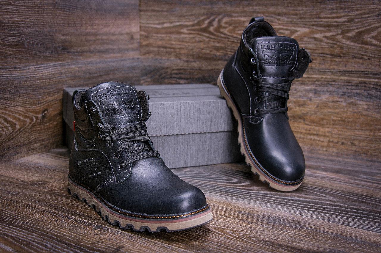 Мужские зимние кожаные ботинки в стиле Levis Stage 1 Black Night