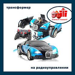 Машинка - робот трансформер на радиоуправлении Bugatti Размер 32 x 12 x 8 DEFORMATION 2 в 1 синяя