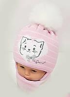 Красивая детская шапочка + шарф Польша 42-44 размер супер качество 3-9 месяцев