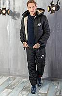 Зимний мужской теплый стеганый костюм Найк синтепоновый с курткой на овчине и съемным капюшоном.  Арт-1202/29