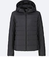 Женская черная ультралегкая куртка на пуху с капюшоном Uniqlo  (Размер - S)
