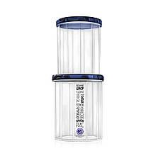Набор ёмкостей для сыпучих продуктов с синей крышкой — объём 1 л + 1.5 л