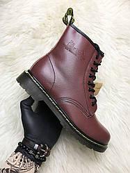 Мужские ботинки зимние Dr Martens 1460 (мех) (вишнёвый)