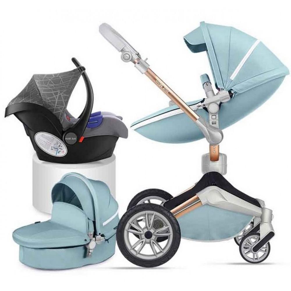 Детская коляска 3в1 Hot Mom 2018 360 Бирюзовая эко-кожа Прогулочная, люлька и автокресло