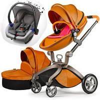 Детская коляска 3в1 Hot Mom Коричневая эко-кожа Прогулочная, люлька и автокресло