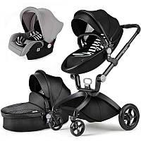 Детская коляска 3в1 Hot Mom Черная эко-кожа Прогулочная, люлька и автокресло