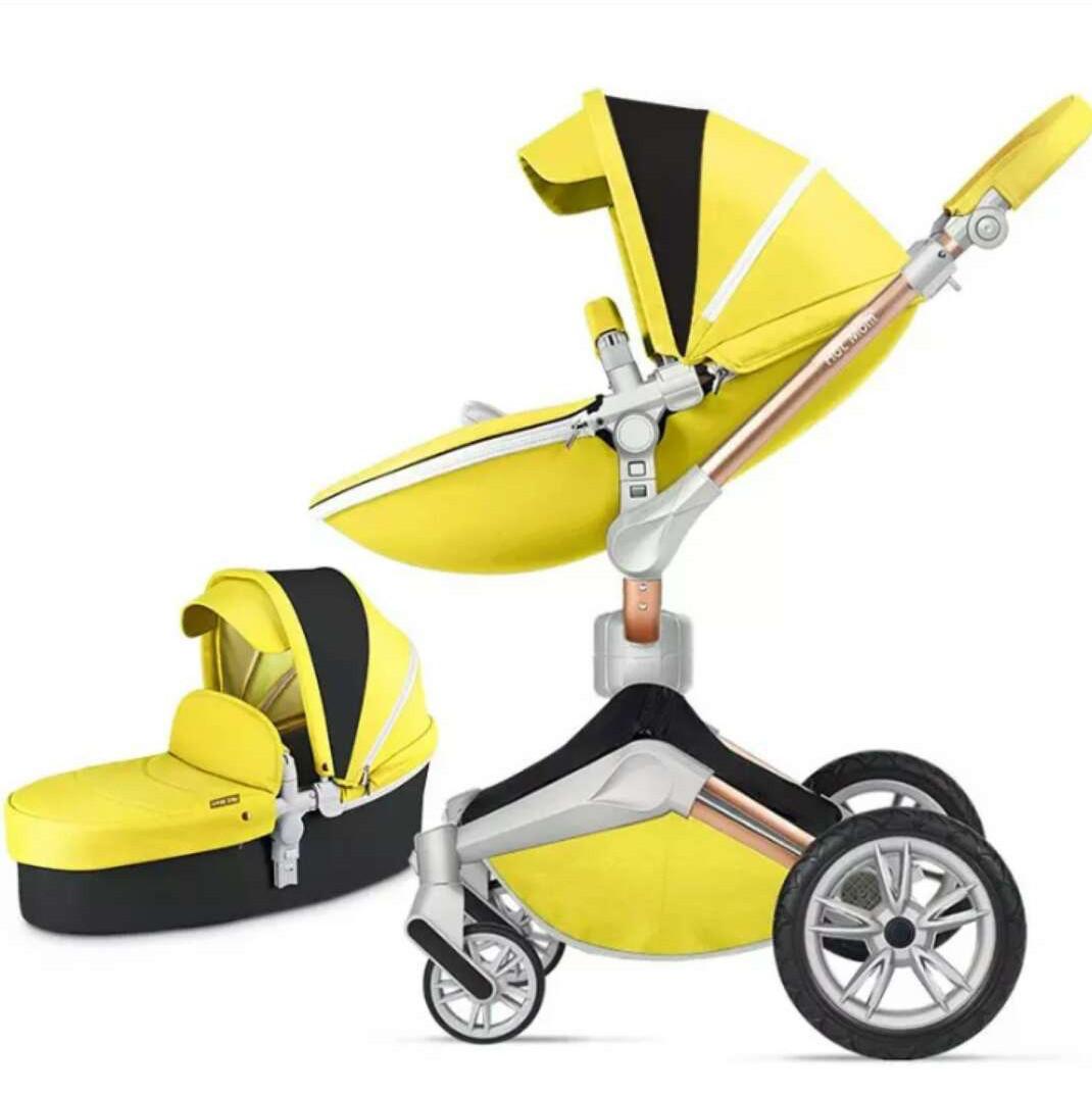 Детская коляска 2в1 Hot Mom 2018 360 Желтая эко-кожа Прогулочная и люлька