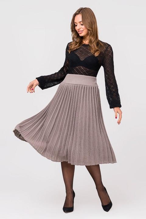 Модная вязанная плиссированная юбка миди (капучино)(44-48)