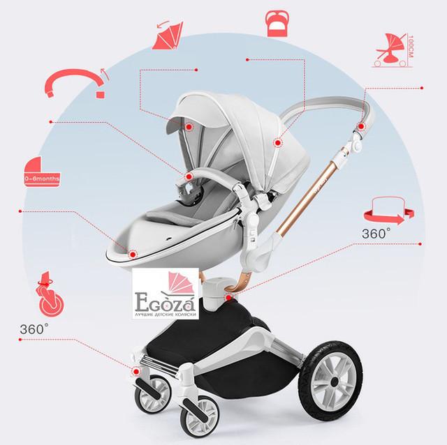 Детская коляска 2в1 Hot Mom 2018 360 Светло серая эко-кожа Прогулочная и люлька