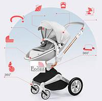 Детская коляска 2в1 Hot Mom 2018 360 Светло серая эко-кожа Прогулочная и люлька, фото 1
