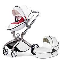 Детская коляска 2в1 Hot Mom Белая эко-кожа Прогулочная и люлька