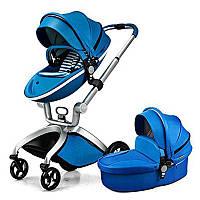 Детская коляска 2в1 Hot Mom Синяя эко-кожа Прогулочная и люлька