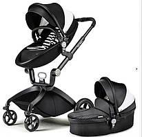 Детская коляска 2в1 Hot Mom Черная с белой вставкой эко-кожа Прогулочная и люлька