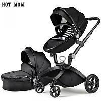 Детская коляска 2в1 Hot Mom Черная эко-кожа Прогулочная и люлька