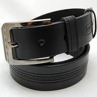 Ремень кожаный мужской Diplom с полосами чёрный (7713)