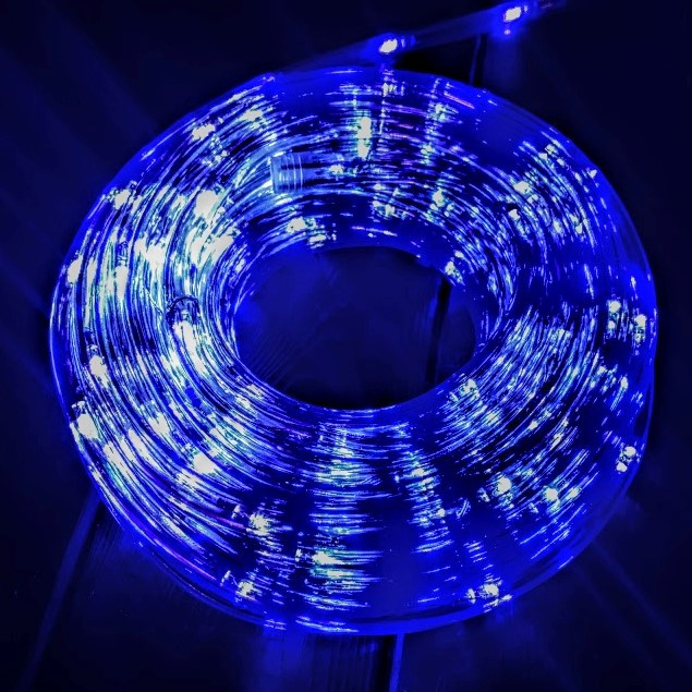 Новогодняя Гирлянда Дюралайт 10 м Синяя с переходником 220V