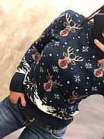 """Теплый шерстяной женский свитер с рисунком (вязка) """"Олени"""", фото 1"""