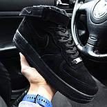 Зимние мужские кроссовки Nike Air Force черные полностью с мехом теплые 41-44рр. Живое фото. Реплика, фото 5
