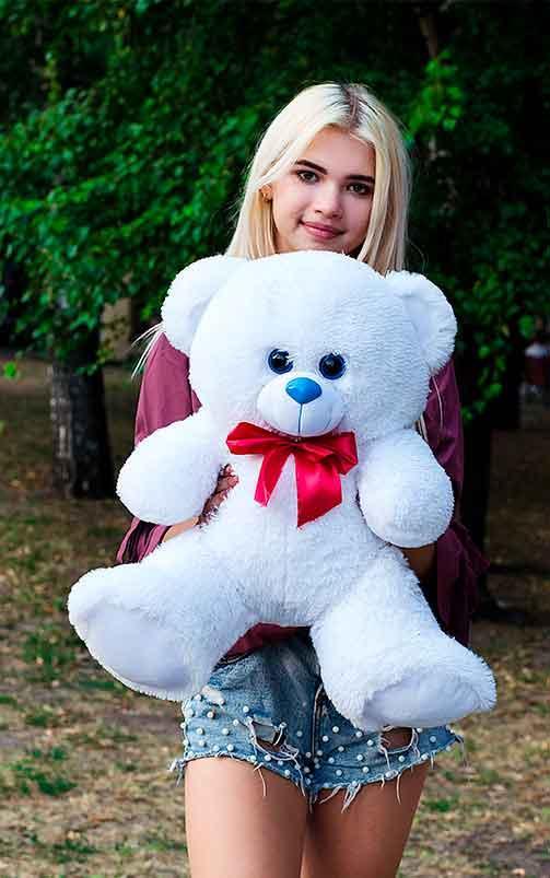 Плюшевый Мишка 70см. Все Цвета  Мишка Томми игрушка Плюшевый медведь Мягкие мишки игрушки Ведмедик (Белый)