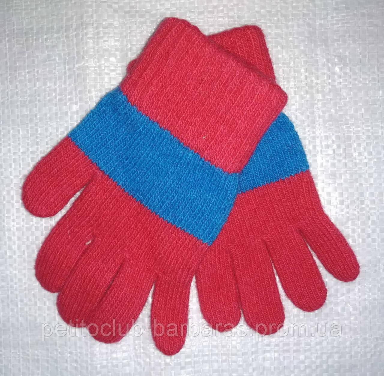 Перчатки для девочки Laura шерстяные красные с голубой полоской (MargotBis, Польша)