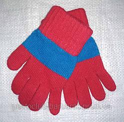 Рукавички для дівчинки Laura вовняні червоні з блакитною смужкою (MargotBis, Польща)