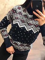 Очень теплый шерстяной женский свитер с рисунком (вязка), фото 1
