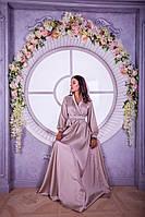 Длиннное вечернее бежевое платье с длинным рукавом (S, M, L)