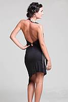 Короткое черное платье с открытой спиной и ассиметричной юбкой (S, M, L)