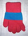 Перчатки для девочки Laura шерстяные красные с голубой полоской (MargotBis, Польша), фото 2