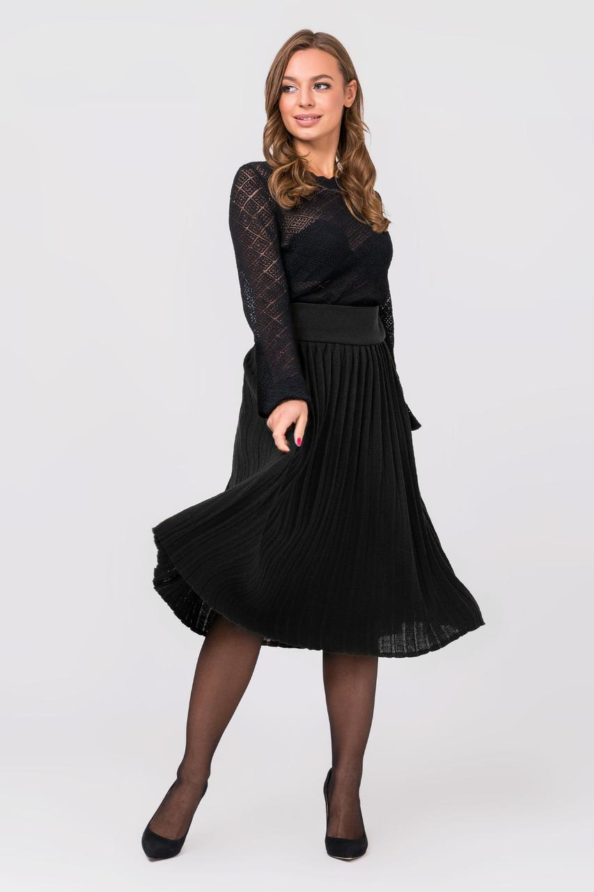 Модная вязанная плиссированная юбка миди (черный)(44-48)