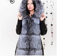 Зимняя кожаная куртка-трансформер с натуральным мехом чернобурки
