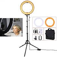 Кольцевая LED лампа 55Вт 48см, кольцевой свет RL-18 + стойка и чехол