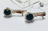 Срібні сережки з чорним цирконом і золотом Агнія, фото 2