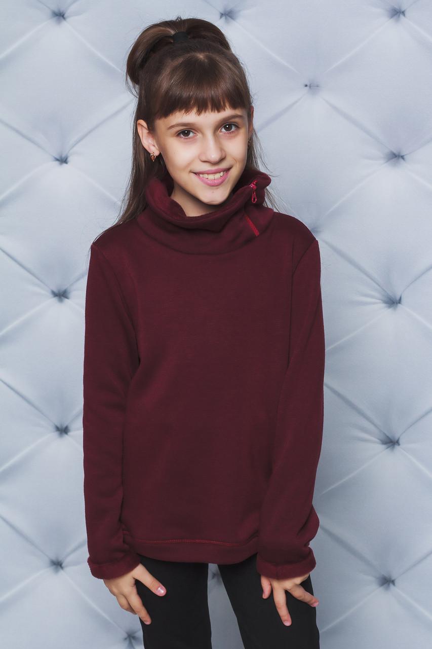 Кофта для девочки на меху бордо