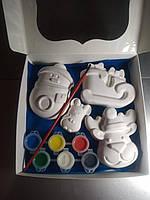 Новогодний набор гипсовых фигурок для творчества. Різдвяний набір гіпсових фігурок для творчості №84