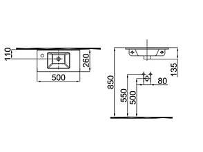 Merkur Умывальник 50 см отверстие слева 0201-3507 IDEVIT, фото 2