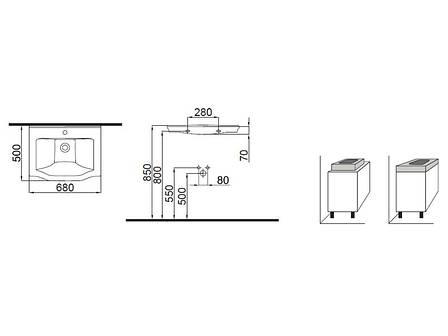 Neo Classic Умывальник белый/декор золото 3301-0655-0088 IDEVIT, фото 2