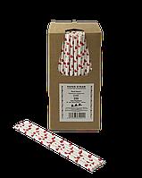 Соломинка паперова TM B.A.R. Ø 6 мм. 250 шт. Червоне сердечко